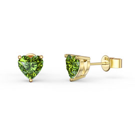 Charmisma 1ct Peridot Heart 18ct Gold Vermeil Stud Earrings