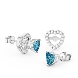 Charmisma Heart Blue Topaz Platinum Plated Silver Stud Earrings Heart Halo Jacket Set