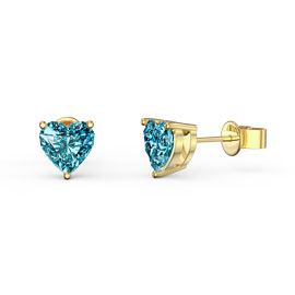 Charmisma 1ct Swiss Blue Topaz Heart 18ct Gold Vermeil Stud Earrings