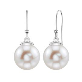 Venus Pearl Platinum plated Silver Drop Earrings 7.5 to 8.0mm