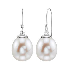 Venus Pearl Platinum plated Silver Drop Earrings