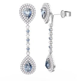 Fusion Aquamarine Pear Halo Platinum plated Silver Stud and Drop Earrings Set
