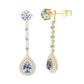Fusion Aquamarine Pear Halo 18ct Gold Vermeil Stud Drop Earrings Set