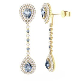Fusion Aquamarine Pear Halo 18ct Gold Vermeil Stud and Drop Earrings Set