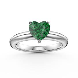 Unity 1ct Heart Emerald Solitaire Platinum Plated Silver Promise Ring