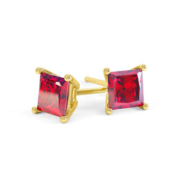 Charmisma 1ct Ruby Princess 18K Yellow Gold Stud Earrings