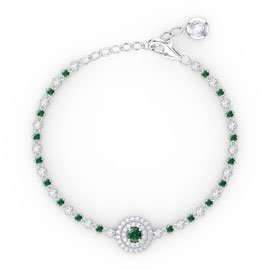 Fusion Emerald and Diamonds 18ct White Gold Tennis Bracelet