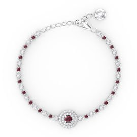 Fusion Ruby and Diamond 18ct White Gold Tennis Bracelet