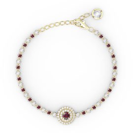Fusion Ruby and Diamond 18ct Yellow Gold Tennis Bracelet