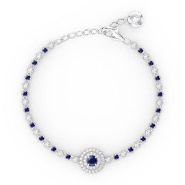 Fusion Sapphire and Diamond 18ct White Gold Tennis Bracelet