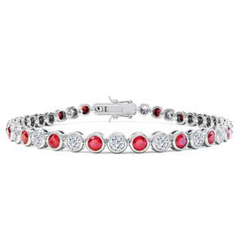 Infinity Ruby Platinum plated Silver Tennis Bracelet