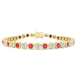 Infinity Ruby CZ 18ct Gold finished Tennis Bracelet