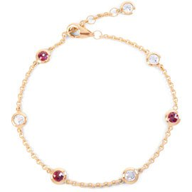 By the Yard Ruby 18ct Rose Gold Vermeil Bracelet
