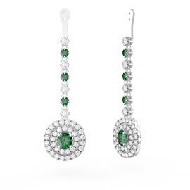 Fusion Emerald Halo Platinum plated Silver Earrings Drops