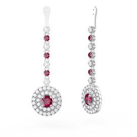 Fusion Ruby Halo Platinum plated Silver Earrings Drops
