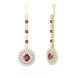Fusion Ruby Halo 18ct Gold Vermeil Earrings Drops