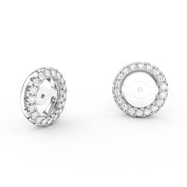Fusion Moissanite 18K White Gold Earring Halo Jackets
