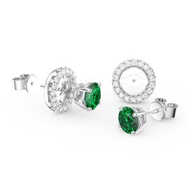Fusion Emerald Platinum plated Silver Stud Earrings Halo Jacket Set