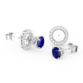 Fusion Sapphire Platinum plated Silver Stud Earrings Halo Jacket Set