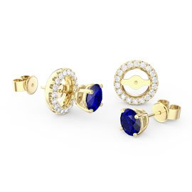Fusion Sapphire 18K Gold Vermeil Stud Earrings Halo Jacket Set