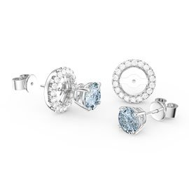 Fusion Aquamarine and Diamonds 18K White Gold Stud Earrings and Diamond Halo Jacket Set