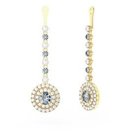 Fusion Aquamarine Halo 18ct Gold Vermeil Earrings Drops