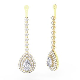 Fusion White Sapphire Pear Halo 18ct Gold Vermeil Earring Drops