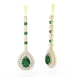 Fusion Emerald Pear Halo 18ct Gold Vermeil Earrings Drops