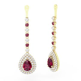 Fusion Ruby Pear Halo 18ct Gold Vermeil Earrings Drops