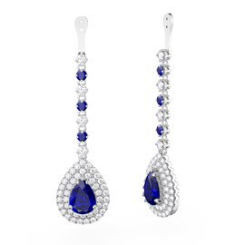 Fusion Sapphire Pear Halo Platinum plated Silver Earring Drops