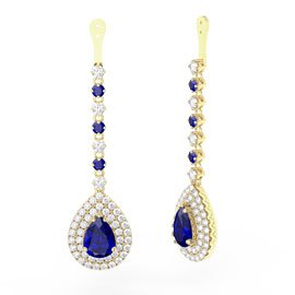 Fusion Sapphire Pear Halo 18ct Gold Vermeil Earring Drops
