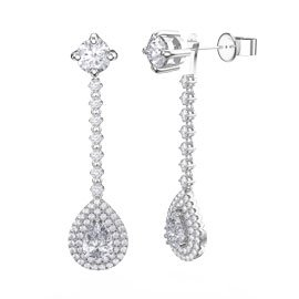 Fusion White Sapphire Pear Halo Platinum plated Silver Stud Drop Earrings Set