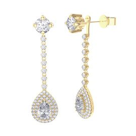 Fusion White Sapphire Pear Halo 18ct Gold Vermeil Stud Drop Earrings Set