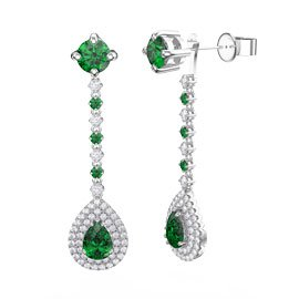 Fusion Emerald Pear Halo Platinum plated Silver Stud Drop Earrings Set