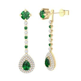 Fusion Emerald Pear Halo 18ct Gold Vermeil Stud Drop Earrings Set