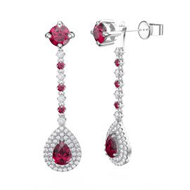 Fusion Ruby Pear Halo Platinum plated Silver Stud Drop Earrings Set