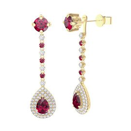 Fusion Ruby Pear Halo 18ct Gold Vermeil Stud Drop Earrings Set