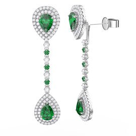 Fusion Emerald and Diamond Pear Halo 18K White Gold Stud and Drop Earrings Set