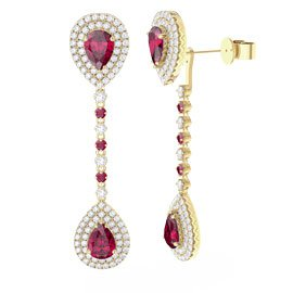 Fusion Ruby Pear Halo 18ct Gold Vermeil Halo Stud Drop Earrings Set