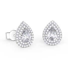 Fusion White Sapphire Pear Halo Platinum plated Silver Stud Earrings