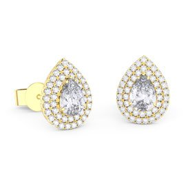 Fusion White Sapphire Pear Halo 18ct Gold Vermeil Stud Earrings