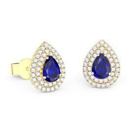 Fusion Sapphire Pear Halo 18ct Gold Vermeil Stud Earrings
