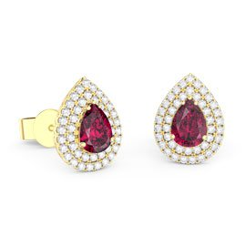 Fusion Ruby Pear Halo 18ct Gold Vermeil Stud Earrings