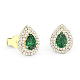 Fusion Emerald Pear Halo 18ct Gold Vermeil Stud Earrings