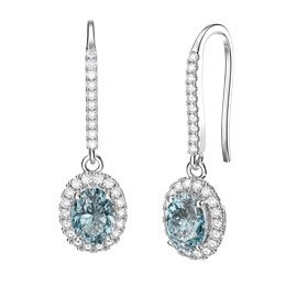 Eternity Aquamarine Oval Halo Platinum plated Silver Pave Drop Earrings