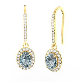 Eternity Aquamarine Oval Halo 18ct Gold Vermeil Pave Drop Earrings