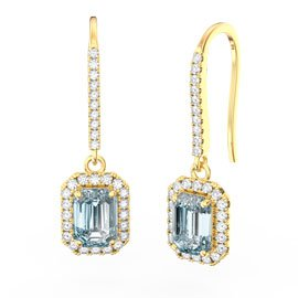 Princess Aquamarine Emerald Cut Halo 18ct Gold Vermeil Pave Drop Earrings