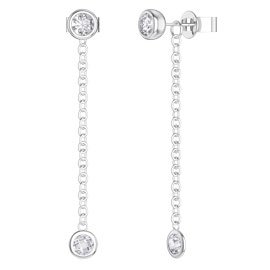 By the Yard White Sapphire Platinum plated Silver Stud and Drop Earrings Set