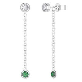 By the Yard Emerald Platinum plated Silver Stud and Drop Earrings Set