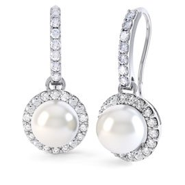 Venus Pearl Halo Platinum plated Silver Pave Drop Earrings